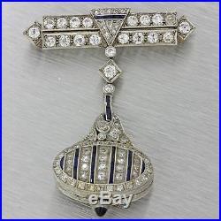 1920s Antique Art Deco 14k White Gold 2ctw Diamond Sapphire Brooch Pin Watch
