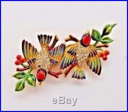 1940's CORO-CRAFT GOLD WASH STERLING ENAMEL DUETTE BIRDS RHINESTONE BROOCH PINs