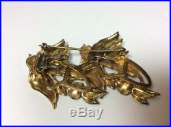 1940's GOLD WASH STERLING ENAMEL CORO-CRAFT DUETTE BIRDS RHINESTONE BROOCH PIN