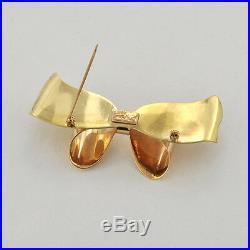 1940s 10K Solid Gold America CORO Designer Retro Morden Bow Motif Brooch /Pin