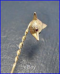 1964 Vintage 9ct Yellow Gold FOX HEAD Stick PIN / Brooch with GARNET EYES