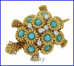 1970s Vintage 18k Solid Yellow Gold. 46ctw Diamond Turquoise Turtle Brooch Pin