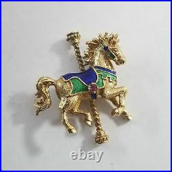 1979 Igor Carl Faberge 14k Yellow Gold Carousel Horse Pin Brooch #RB-FMR8