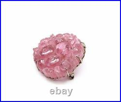 19C Chinese 14K White Gold Tourmaline Carved Carving Hat Button Pin Brooch