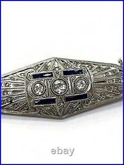 1CT+ Art Deco Platinum and 18K gold Diamond and Sapphire Brooch Pin 2.45x. 90
