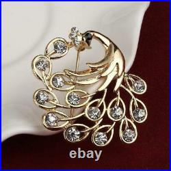 1Ct Round Cut Diamond 14k Yellow Gold Over Peacock Bridal Brooch Pin