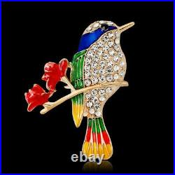 1.00 Ct Round Cut Diamond 14K Colurful Bird Brooch Pin Rose Gold Over