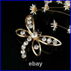 1.00 Ct Round Cut Diamond 14K Dragonfly Brooch Pin Yellow Gold Over