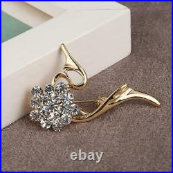 1.00 Ct Round Cut Diamond 14K Flower Leaf Brooch Pin Yellow Gold Over
