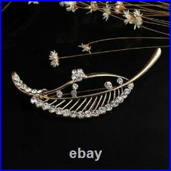 1.00 Ct Round Cut Diamond 14K Leaf Brooch Pin Yellow Gold Over