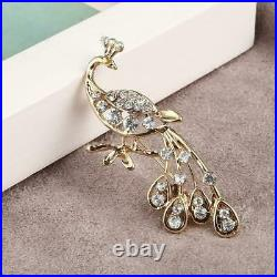 1.00 Ct Round Cut Diamond 14K Peacock Brooch Pin Yellow Gold Over