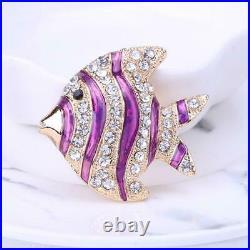 1.00 Ct Round Cut Diamond 14K Purple Enamel Fish Brooch Pin Yellow Gold Over