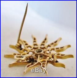 1.3 Antique 14K Gold Brooch Pin / Pendant with 2.0+ Carats of Diamonds (7.3g)