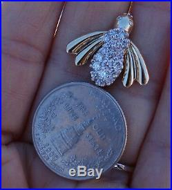 1ct G/VS Fly diamond pendant Brooch pin 14k yellow gold 4.6g