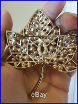 2018 CHANEL Gold Crystal Pearl Leaf CC Runway Pin Brooch Fall 18-19