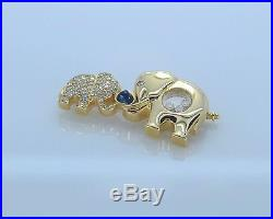 $24,800 Chopard 18K Yellow Gold Happy Diamond Blue Sapphire Elephant Pin Brooch