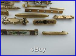 28 Vintage Victorian Antique Brooches, Pins Gold Filled Mostly Bar Pins Lot