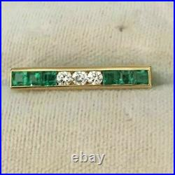 2.00 Ct Princess Cut Green Emerald & Diamond Bar Pin Brooch 14k Yellow Gold Over