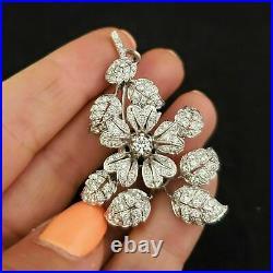 2.00 Ct Round Cut Diamond Floral Flower Estate Brooch Pin 14k White Gold Finish