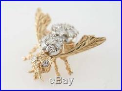 2.14ct Round Brilliant Cut Diamond Bee Design Pin Brooch 14k Dual Gold Finish