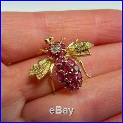 2.20ct Round Cut Pink Ruby Bee Design Pin Brooch 14k Yellow Gold Finish