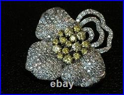 2.5 Ct Yellow Citrine & Lab Created Diamond Flower Brooch Pin 18K White Gold GF