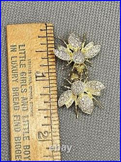 2 Scatter Pins 14K Solid Gold Full Diamond 3/4 Bee Brooch Insect Pendants Set