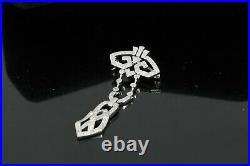 $3,350 18K White Gold 1ct Round Diamond Vintage Look Milgrain Dangle Pin Brooch