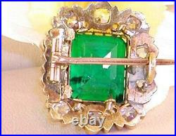 3.96 Carat Antique Diamond Colombian Emerald Brooch Pin in 18K Yellow Gold Over