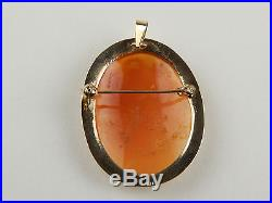 3 Three Graces Oval Shell Cameo Brooch / Pin / Pendant 14 kt Yellow Gold #A1113