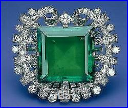 4.10Ct Colombian Emerald & Diamond 14k White Gold Over Brooch Pin For Unisex