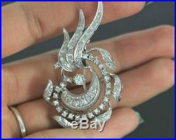 $4,250 Vintage Estate ITALY 18K White Gold Round Single Cut Diamond Pin Brooch
