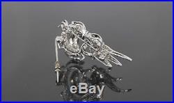 $4,250 Vintage Estate ITALY 18K White Gold Round Single Cut Diamond Pin Brooch