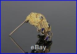 $6995 Estate Vintage 18K Yellow Gold Diamond Ruby Sapphire Dog Poodle Brooch Pin
