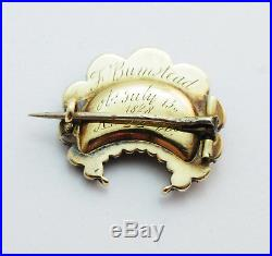 6-3RARE Antique Georgian Mourning Brooch George IV Jet Hair Pin 14k Yellow Gold