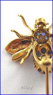 #7438 Phenomenal 18k Gold Sapphire & Diamond Queen Bee Brooch Pin