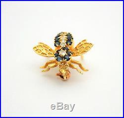 #8273 Royal 14k Gold Diamond & Sapphire Queen Bee Brooch/Pin
