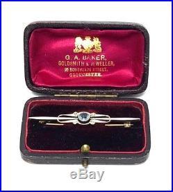 9ct Yellow & White GOLD, DIAMOND & BLUE TOURMALINE Brooch Pin, 4.6g S77