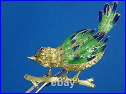 AMAZING ITALIAN SOLID 18K GOLD RUBY EYE ENAMEL BIRD PIN BROOCH 9 g / 1.75