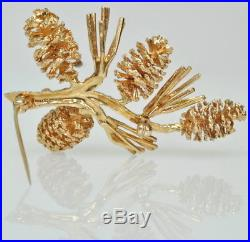 AMAZING Vintage Textured 14k Yellow Gold Pine Cone Branch Pin Estate Brooch