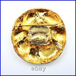 ANTIGONA Paris Haute Couture Pin Brooch Gripoix Glass Gold Plated France Vintage