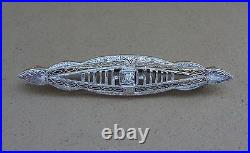 ANTIQUE 14K WHITE GOLD FILIGREE PIN BROOCH With SPARKLING MINE-CUT DIAMOND CENTER