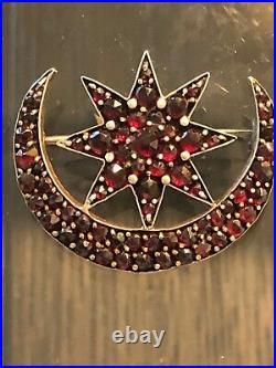 ANTIQUE BOHEMIAN Garnet Crescent MOON & STAR PIN BROOCH Gold Filled