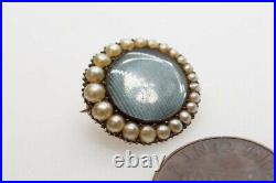 ANTIQUE GEORGIAN ENGLISH 9K GOLD PEARL LOCKET MOURNING BROOCH / LACE PIN c1820