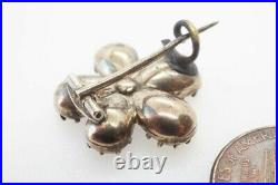 ANTIQUE GEORGIAN ENGLISH GOLD AMETHYST & CITRINE PANSY BROOCH / LACE PIN c1820