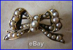ANTIQUE VICTORIAN GOLD & SEED PEARL BOW BROOCH PIN in HIGH CARAT GOLD 1870
