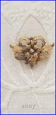 ANTIQUE VICTORIAN ornate 12K GOLD with diamond pin brooch fob