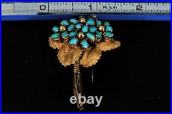 ANTIQUE Vintage TURQUOISE FLOWER 18k YELLOW GOLD PIN BROOCH Rare