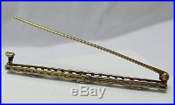 ART DECO KREMENTZ 14K 2 TONE GOLD DIAMOND NATURAL SAPPHIRE BAR BROOCH PIN 2.8Gr