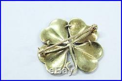 ART NOUVEAU 14K Gold 4 Leaf Clover Green Enamel Pin Brooch